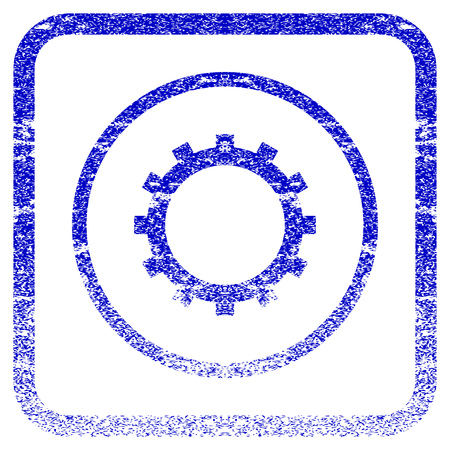 rasterized: Gear textured icon for overlay watermark stamps. Blue rasterized texture. Flat raster symbol with unclean design inside rounded square frame. Framed blue rubber seal stamp imitation.