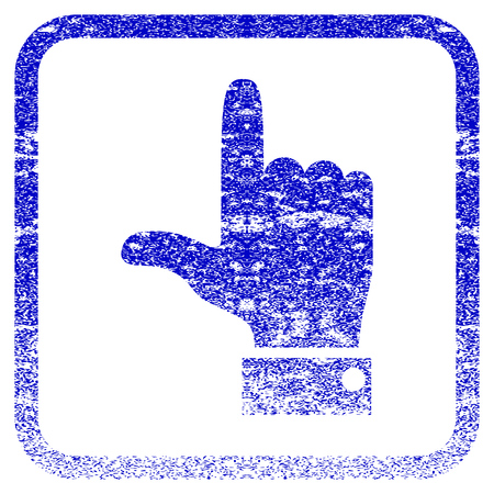 rasterized: Hand Pointer Up textured icon for overlay watermark stamps. Blue rasterized texture. Flat raster symbol with scratched design inside rounded square frame. Framed blue rubber seal stamp imitation.