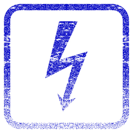 rasterized: High Voltage textured icon for overlay watermark stamps. Blue rasterized texture. Flat raster symbol with unclean design inside rounded square frame. Framed blue rubber seal stamp imitation.
