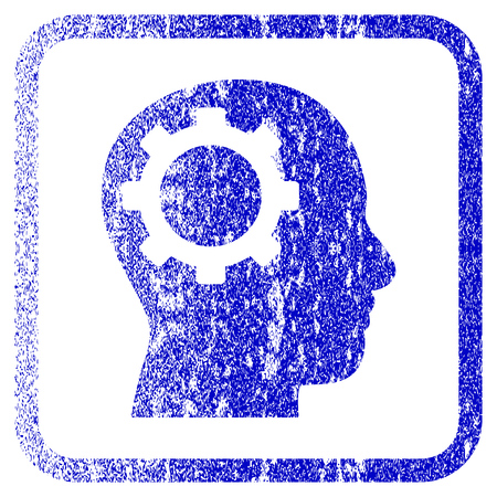 rasterized: Intellect Gear textured icon for overlay watermark stamps. Blue rasterized texture. Flat raster symbol with unclean design inside rounded square frame. Framed blue rubber seal stamp imitation.