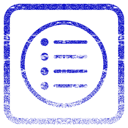 old items: Items textured icon for overlay watermark stamps. Blue rasterized texture. Flat raster symbol with dust design inside rounded square frame. Framed blue rubber seal stamp imitation.