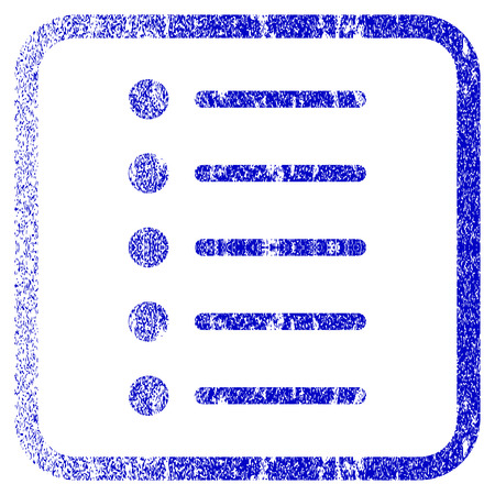 numerate: Items textured icon for overlay watermark stamps. Blue rasterized texture. Flat raster symbol with scratched design inside rounded square frame. Framed blue rubber seal stamp imitation.