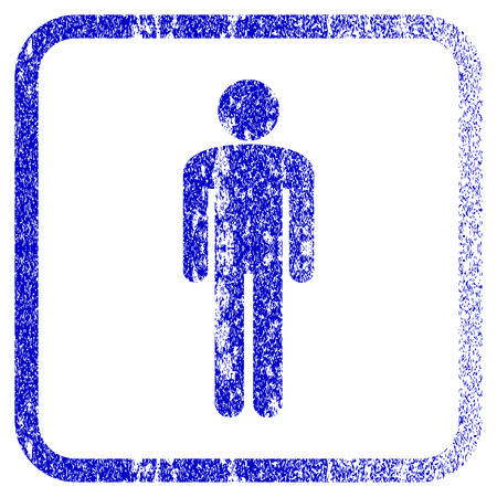 rasterized: Man textured icon for overlay watermark stamps. Blue rasterized texture. Flat raster symbol with unclean design inside rounded square frame. Framed blue rubber seal stamp imitation. Stock Photo