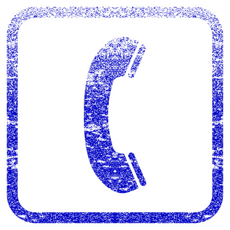 old phone: Phone Receiver textured icon for overlay watermark stamps. Blue rasterized texture. Flat raster symbol with scratched design inside rounded square frame. Framed blue rubber seal stamp imitation. Stock Photo