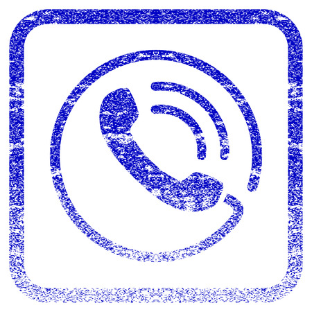 rasterized: Phone Call textured icon for overlay watermark stamps. Blue rasterized texture. Flat raster symbol with scratched design inside rounded square frame. Framed blue rubber seal stamp imitation.