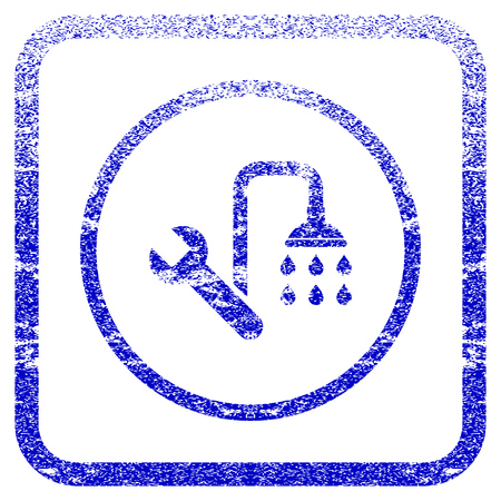 rasterized: Plumbing textured icon for overlay watermark stamps. Blue rasterized texture. Flat raster symbol with scratched design inside rounded square frame. Framed blue rubber seal stamp imitation.
