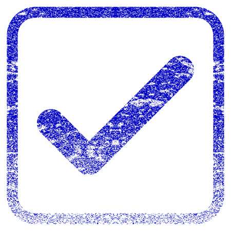 valid: Ok textured icon for overlay watermark stamps. Blue rasterized texture. Flat raster symbol with unclean design inside rounded square frame. Framed blue rubber seal stamp imitation.