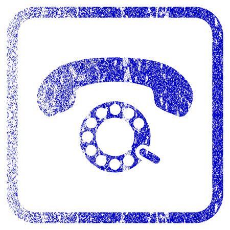 pulsing: Pulse Dialing textured icon for overlay watermark stamps. Blue rasterized texture. Flat raster symbol with unclean design inside rounded square frame. Framed blue rubber seal stamp imitation.
