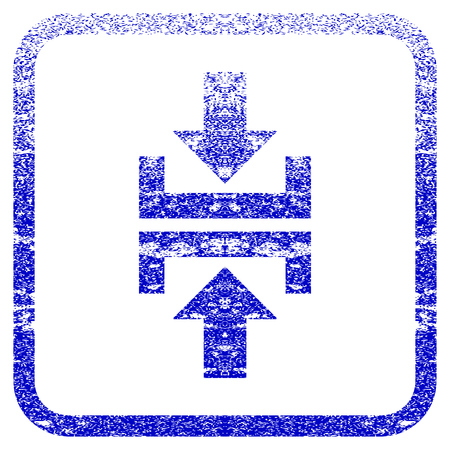 Press Vertical Direction textured icon for overlay watermark stamps. Blue rasterized texture. Flat raster symbol with unclean design inside rounded square frame.