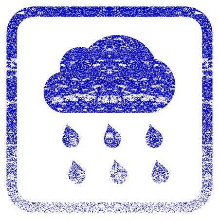 rasterized: Rain Cloud textured icon for overlay watermark stamps. Blue rasterized texture. Flat raster symbol with dust design inside rounded square frame. Framed blue rubber seal stamp imitation.