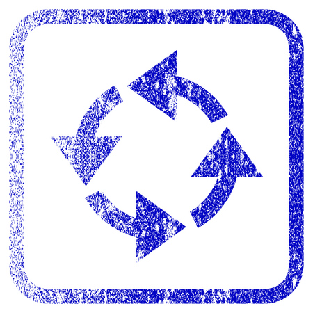 rasterized: Recycle textured icon for overlay watermark stamps. Blue rasterized texture. Flat raster symbol with unclean design inside rounded square frame. Framed blue rubber seal stamp imitation.