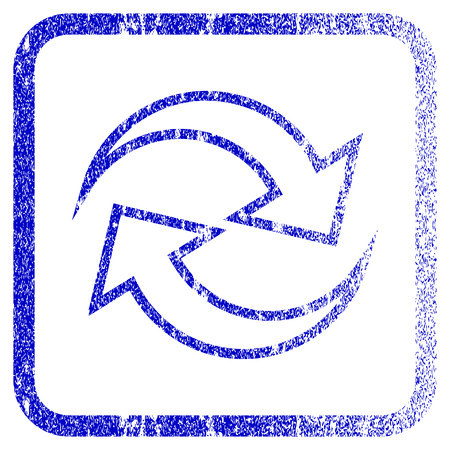 rasterized: Refresh Arrows textured icon for overlay watermark stamps. Blue rasterized texture. Flat raster symbol with dirty design inside rounded square frame. Framed blue rubber seal stamp imitation.
