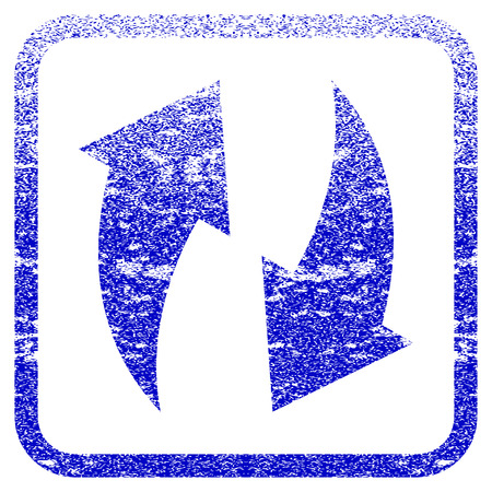 rasterized: Refresh textured icon for overlay watermark stamps. Blue rasterized texture. Flat raster symbol with scratched design inside rounded square frame. Framed blue rubber seal stamp imitation.