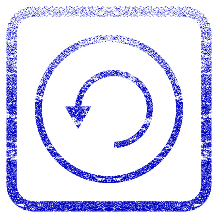 rasterized: Rotate CCW textured icon for overlay watermark stamps. Blue rasterized texture. Flat raster symbol with scratched design inside rounded square frame. Framed blue rubber seal stamp imitation. Stock Photo
