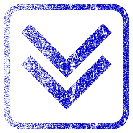 rasterized: Shift Down textured icon for overlay watermark stamps. Blue rasterized texture. Flat raster symbol with scratched design inside rounded square frame. Framed blue rubber seal stamp imitation. Stock Photo