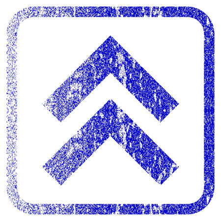 penetrating: Shift Up textured icon for overlay watermark stamps. Blue rasterized texture. Flat raster symbol with dust design inside rounded square frame. Framed blue rubber seal stamp imitation.