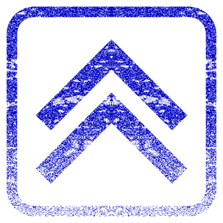 Shift Up textured icon for overlay watermark stamps. Blue rasterized texture. Flat raster symbol with dust design inside rounded square frame. Framed blue rubber seal stamp imitation.