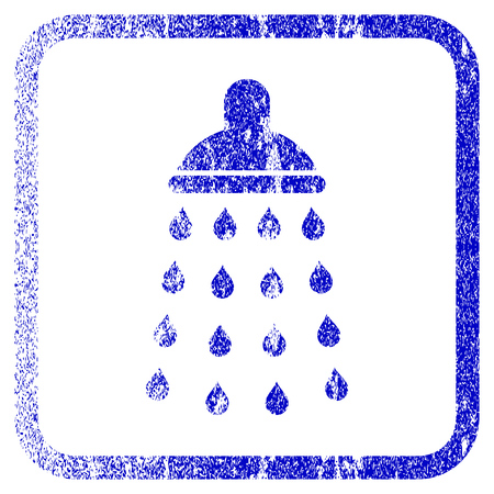 disinfection: Shower textured icon for overlay watermark stamps. Blue rasterized texture. Flat raster symbol with dust design inside rounded square frame. Framed blue rubber seal stamp imitation. Stock Photo