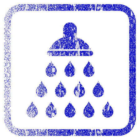 rasterized: Shower textured icon for overlay watermark stamps. Blue rasterized texture. Flat raster symbol with scratched design inside rounded square frame. Framed blue rubber seal stamp imitation. Stock Photo