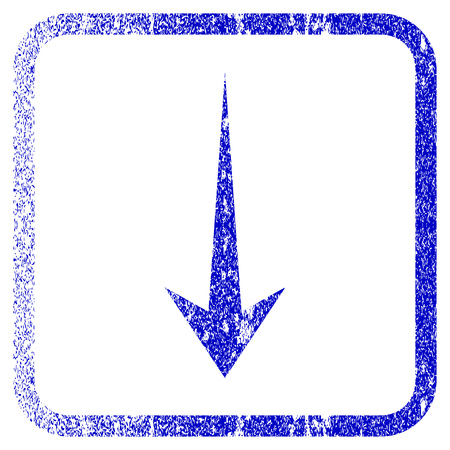 Arrow Down textured icon for overlay watermark stamps. Blue vectorized texture. Flat vector symbol with dust design inside rounded square frame. Framed blue rubber seal stamp imitation. Illustration