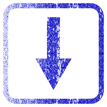 moving down: Arrow Down textured icon for overlay watermark stamps. Blue vectorized texture. Flat vector symbol with dust design inside rounded square frame. Framed blue rubber seal stamp imitation. Illustration