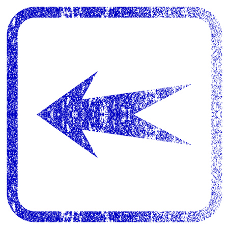 Arrow Left textured icon for overlay watermark stamps. Blue vectorized texture. Flat vector symbol with scratched design inside rounded square frame. Framed blue rubber seal stamp imitation.