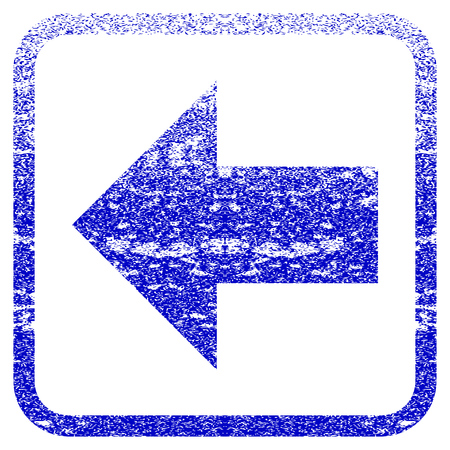 before: Arrow Left textured icon for overlay watermark stamps. Blue vectorized texture. Flat vector symbol with scratched design inside rounded square frame. Framed blue rubber seal stamp imitation.