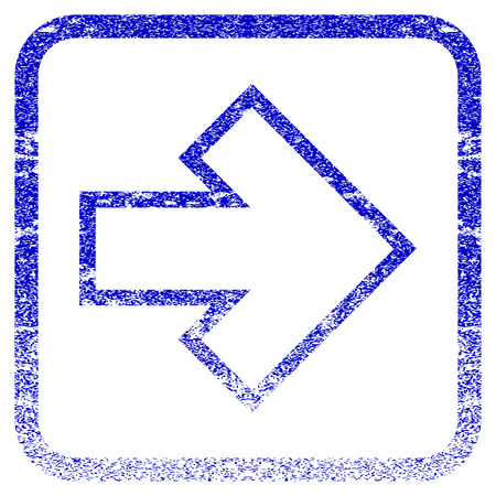 propel: Arrow Right textured icon for overlay watermark stamps. Blue vectorized texture. Flat vector symbol with scratched design inside rounded square frame. Framed blue rubber seal stamp imitation.