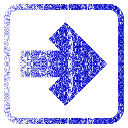 corrosion: Arrow Right textured icon for overlay watermark stamps. Blue vectorized texture. Flat vector symbol with scratched design inside rounded square frame. Framed blue rubber seal stamp imitation.