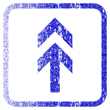 penetrating: Arrow Up textured icon for overlay watermark stamps. Blue vectorized texture. Flat vector symbol with scratched design inside rounded square frame. Framed blue rubber seal stamp imitation.
