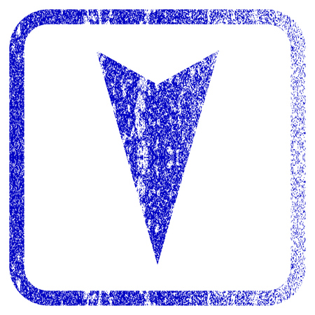 corrosion: Arrowhead Down textured icon for overlay watermark stamps. Blue vectorized texture. Flat vector symbol with dust design inside rounded square frame. Framed blue rubber seal stamp imitation.