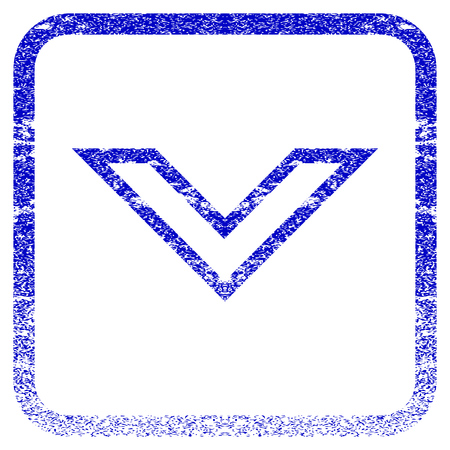 corroded: Arrowhead Down textured icon for overlay watermark stamps. Blue vectorized texture. Flat vector symbol with unclean design inside rounded square frame. Framed blue rubber seal stamp imitation. Illustration