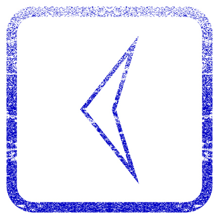 Arrowhead Left textured icon for overlay watermark stamps. Blue vectorized texture. Flat vector symbol with dust design inside rounded square frame. Framed blue rubber seal stamp imitation. Illustration