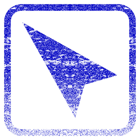 Arrowhead Left-Up textured icon for overlay watermark stamps. Blue vectorized texture. Flat vector symbol with dirty design inside rounded square frame. Framed blue rubber seal stamp imitation.
