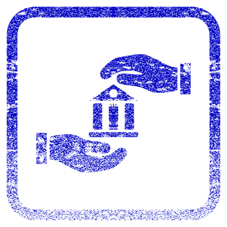 corrosion: Bank Service textured icon for overlay watermark stamps. Blue vectorized texture. Flat vector symbol with unclean design inside rounded square frame. Framed blue rubber seal stamp imitation.