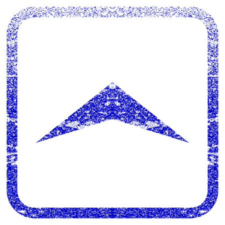 penetrating: Arrowhead Up textured icon for overlay watermark stamps. Blue vectorized texture. Flat vector symbol with dirty design inside rounded square frame. Framed blue rubber seal stamp imitation.