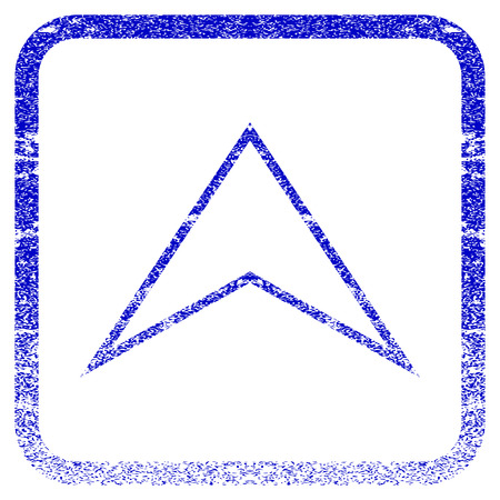 Arrowhead Up textured icon for overlay watermark stamps. Blue vectorized texture. Flat vector symbol with dirty design inside rounded square frame. Framed blue rubber seal stamp imitation.