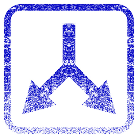 flèche double: Bifurcation Arrow Down textured icon for overlay watermark stamps. Blue vectorized texture. Flat vector symbol with unclean design inside rounded square frame. Framed blue rubber seal stamp imitation.
