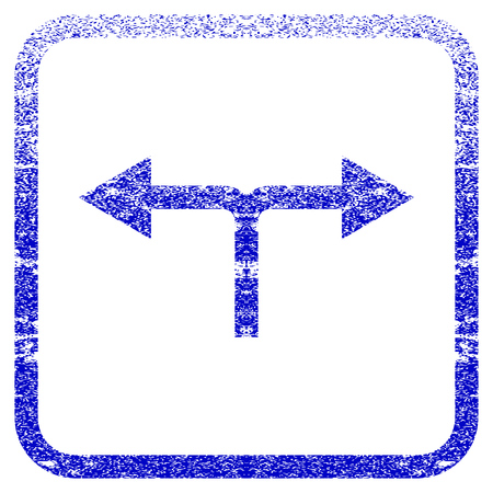 corrosion: Bifurcation Arrows Left Right textured icon for overlay watermark stamps. Blue vectorized texture. Flat vector symbol with unclean design inside rounded square frame.