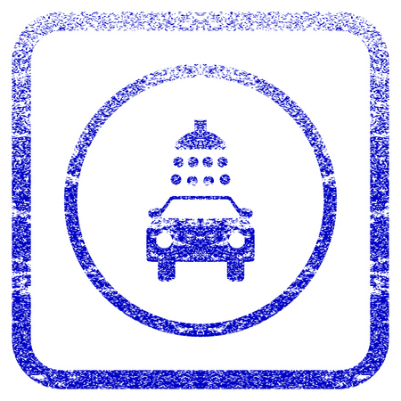 disinfection: Car Shower textured icon for overlay watermark stamps. Blue vectorized texture. Flat vector symbol with scratched design inside rounded square frame. Framed blue rubber seal stamp imitation.