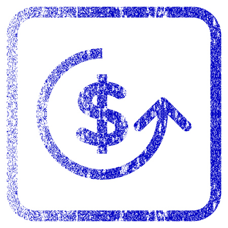 reverse: Chargeback textured icon for overlay watermark stamps. Blue vectorized texture.