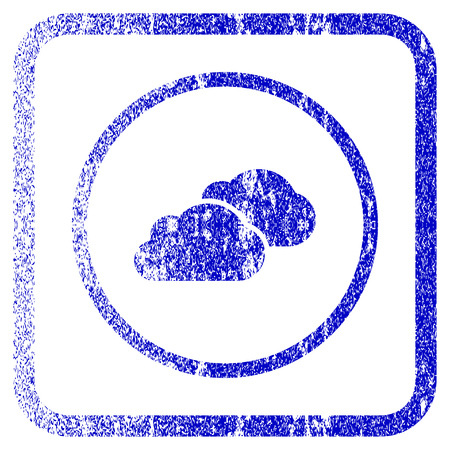 saas: Clouds textured icon for overlay watermark stamps. Blue vectorized texture. Flat vector symbol with unclean design inside rounded square frame. Framed blue rubber seal stamp imitation.