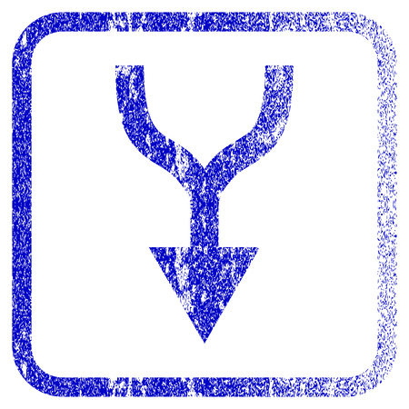 Combine Arrow Down textured icon for overlay watermark stamps. Blue vectorized texture. Flat vector symbol with dust design inside rounded square frame. Framed blue rubber seal stamp imitation. Illustration