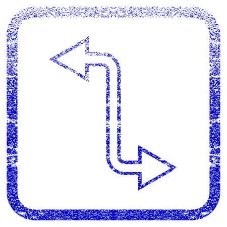 corroded: Curved Exchange Arrow textured icon for overlay watermark stamps. Blue vectorized texture. Flat vector symbol with dust design inside rounded square frame. Framed blue rubber seal stamp imitation.