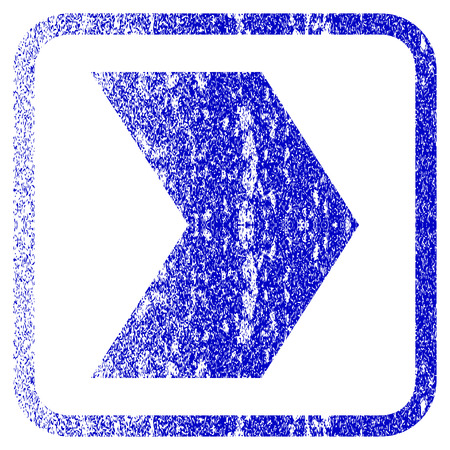penetrating: Direction Right textured icon for overlay watermark stamps. Blue vectorized texture. Flat vector symbol with unclean design inside rounded square frame. Framed blue rubber seal stamp imitation. Illustration