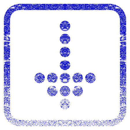 Dotted Arrow Down textured icon for overlay watermark stamps. Blue vectorized texture. Flat vector symbol with dust design inside rounded square frame. Framed blue rubber seal stamp imitation.