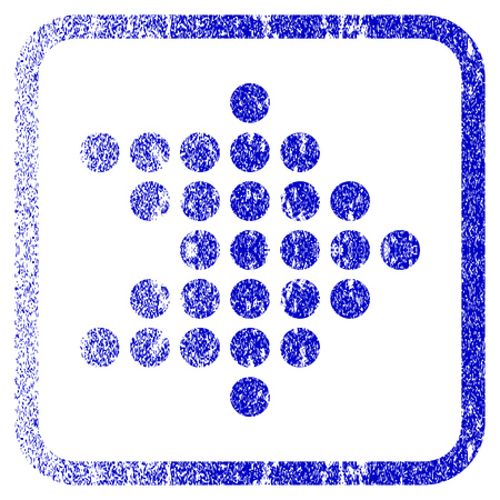 corrosion: Dotted Arrow Right textured icon for overlay watermark stamps. Blue vectorized texture. Flat vector symbol with unclean design inside rounded square frame. Framed blue rubber seal stamp imitation. Illustration