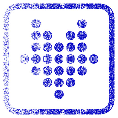 corrosion: Dotted Arrow Down textured icon for overlay watermark stamps. Blue vectorized texture. Flat vector symbol with unclean design inside rounded square frame. Framed blue rubber seal stamp imitation.