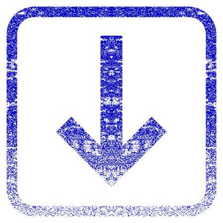 corrosion: Down Arrow textured icon for overlay watermark stamps. Blue vectorized texture. Flat vector symbol with unclean design inside rounded square frame. Framed blue rubber seal stamp imitation.