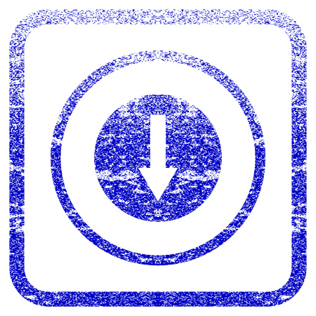 corrosion: Down Rounded Arrow textured icon for overlay watermark stamps. Blue vectorized texture. Flat vector symbol with dirty design inside rounded square frame. Framed blue rubber seal stamp imitation. Illustration